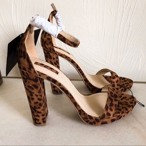 Leopard Print Chunky Heel Strappy Sandals